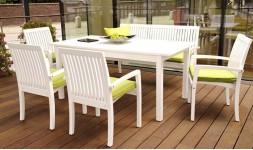 Table de jardin en bois blanc