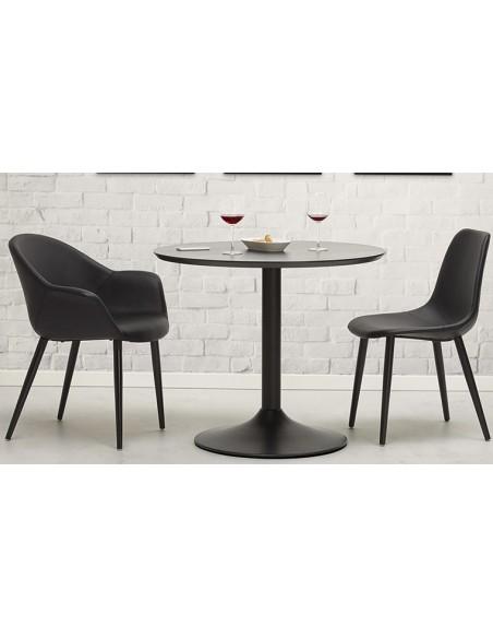 Table ronde à diner noire