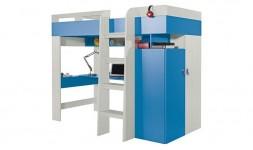 Lit combiné bleu avec armoire et bureau