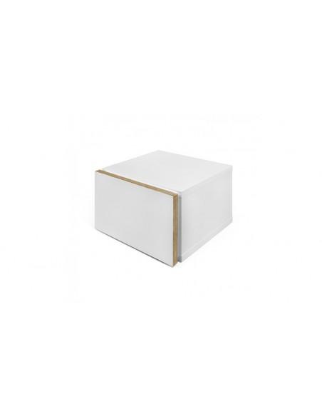Table de chevet blanche et bois