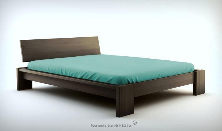 lit en bois massif wengue