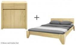 Pack literie lit et commode en bois hêtre
