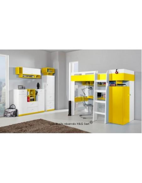 Lit en mezzanine jaune avec bureau et armoire