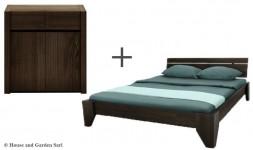 Commode design avec lit en bois massif