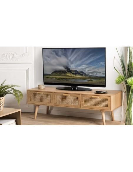 Meuble TV rotin cannage