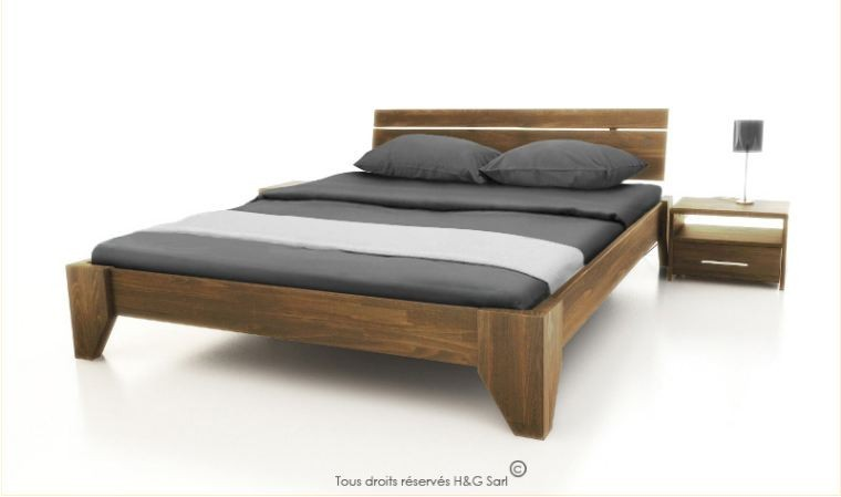 lit double en bois massif noyer clair style contemporain verde. Black Bedroom Furniture Sets. Home Design Ideas