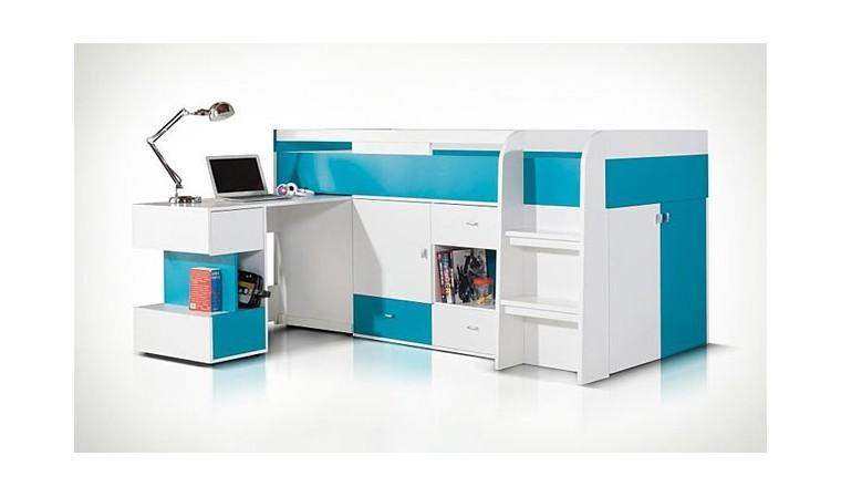 lit enfant haut avec bureau coulissant et rangement pas cher. Black Bedroom Furniture Sets. Home Design Ideas