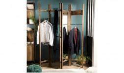 Porte manteau teck avec miroir