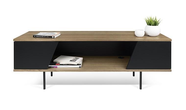 meuble tv noir et noyer avec pieds mtalliques noir dixie. Black Bedroom Furniture Sets. Home Design Ideas