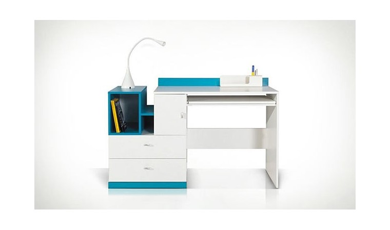 Bureau design ado et enfant en bois blanc et bleu - Jolly