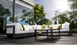 Salon bas de jardin avec angle