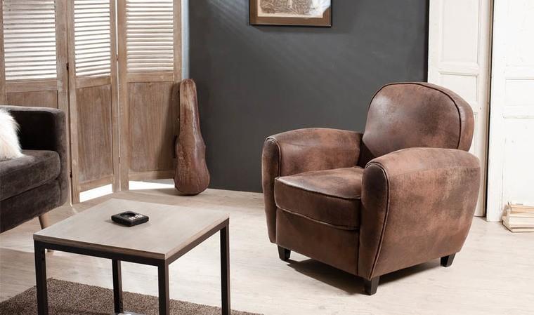 fauteuil club rétro marron