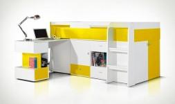 Lit enfant combiné jaune avec bureau