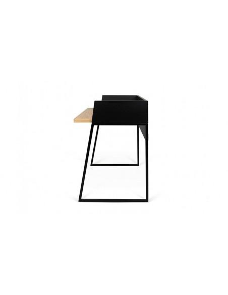 Petit bureau en chêne et acier noir