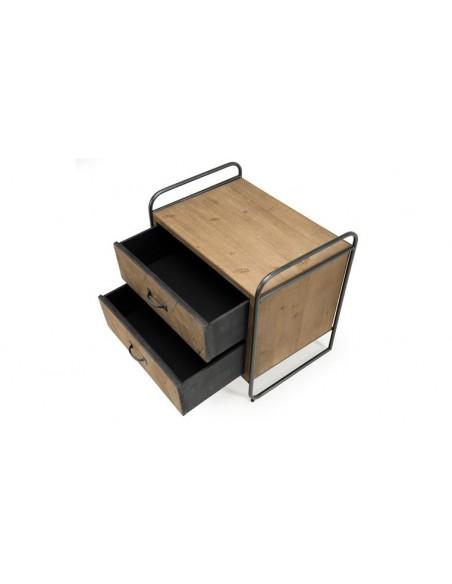 Table de chevet industriel 2 tiroirs