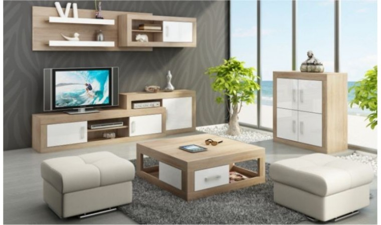 ensemble mural meuble tv contemporain notti a finitions chene et blanc brillant. Black Bedroom Furniture Sets. Home Design Ideas
