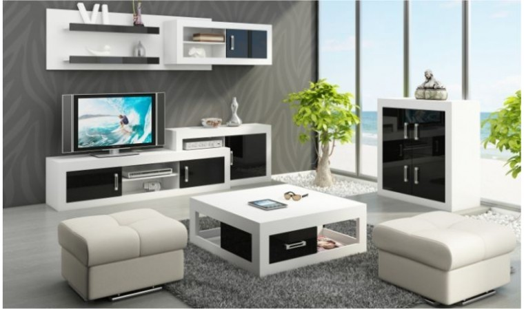 ensemble meuble mural avec meuble tv commode et etageres mobilier europeen de qualite. Black Bedroom Furniture Sets. Home Design Ideas