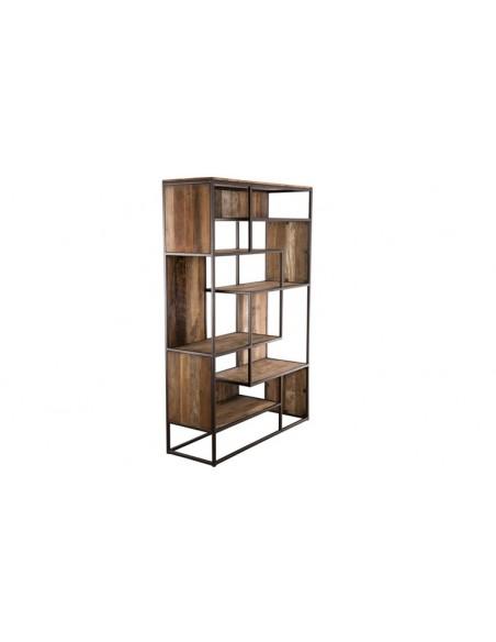 Bibliothèque industrielle bois recyclé
