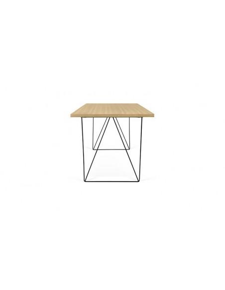 meuble bureau design en chêne et pieds en acier noir