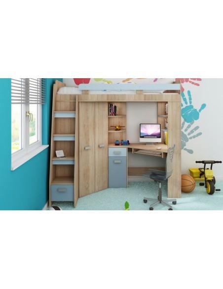 Lit mezzanine enfant bois et bleu avec rangements intégrés