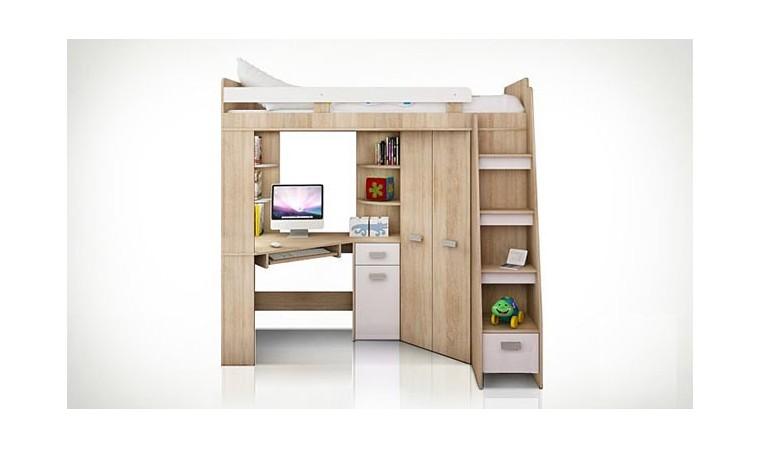 lit combin en hauteur enfant avec bureau et armoire en bois. Black Bedroom Furniture Sets. Home Design Ideas
