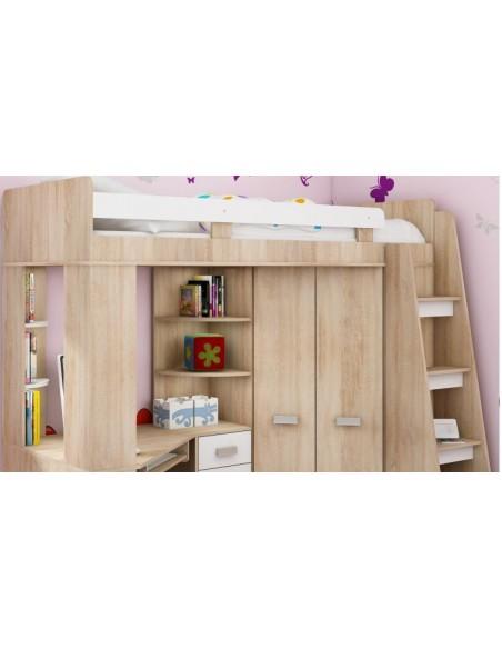 Lit mezzanine enfant en bois avec rangement et bureau