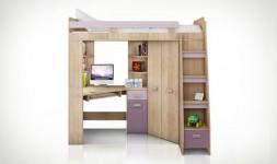 Lit en hauteur combiné enfant chêne et violet