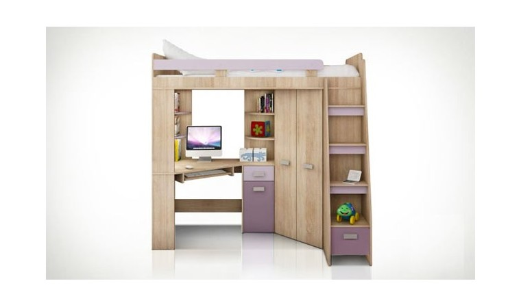 lit en hauteur combin avec bureau armoire et rangement intgr. Black Bedroom Furniture Sets. Home Design Ideas