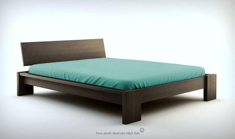 lit design adulte en bois massif avec sommier et matelas