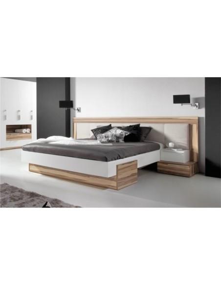 lit bois design avec tête de lit large