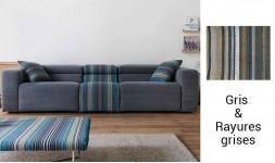 Canapé 3 places tissu gris design