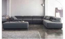 Canapé d'angle en tissu gris acier bicolore