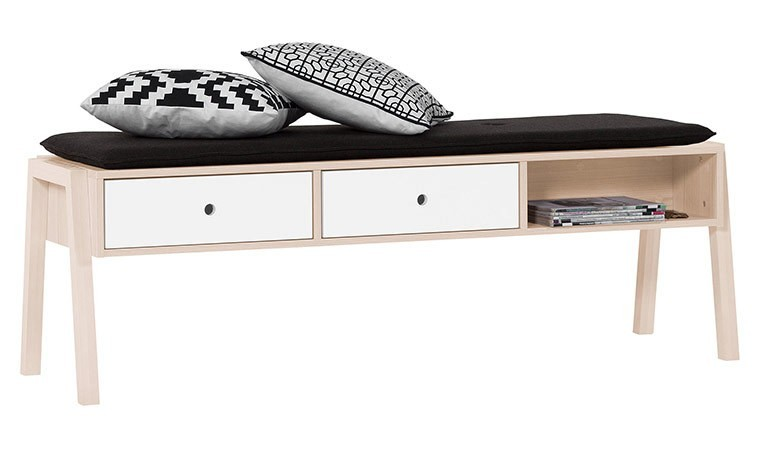 Banc design en bois pour salle manger avec rangement spot for Banc salle a manger