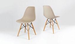 Chaise marron beige style eiffel