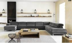 Canapé d'angle contemporain en velours
