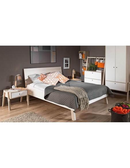 Chevet design en bois avec tiroir blanc