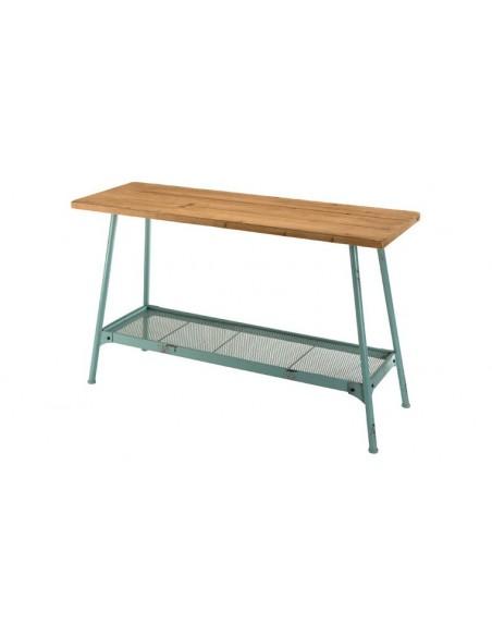 console métal bleu vert