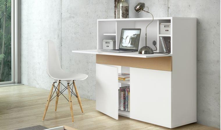 Meuble secrétaire design blanc