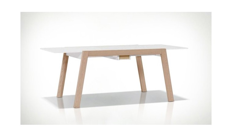 table manger extensible scandinave blanc et bois spot vox. Black Bedroom Furniture Sets. Home Design Ideas