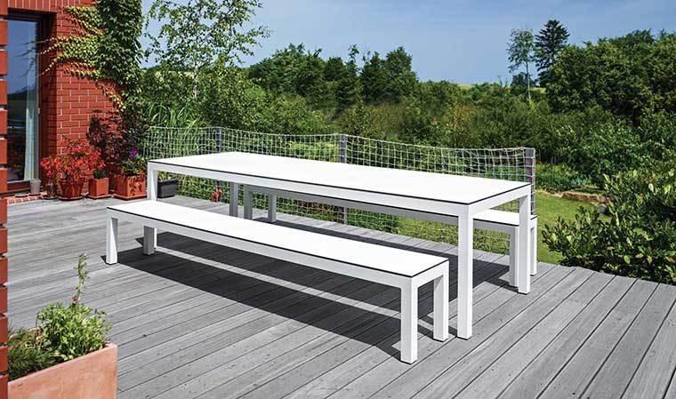 banc exterieur leuven blanc pour table de jardin todus 205 cm. Black Bedroom Furniture Sets. Home Design Ideas
