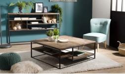 Table basse bois recyclé carrée