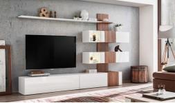 Meuble TV complet blanc brillant