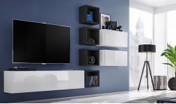 Mobilier TV mural noir et blanc