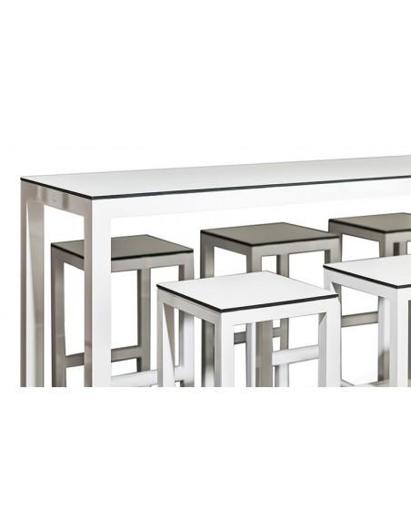 Table haute de jardin design blanc