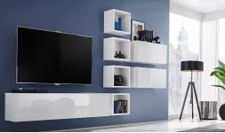 Mobilier TV mural blanc brillant