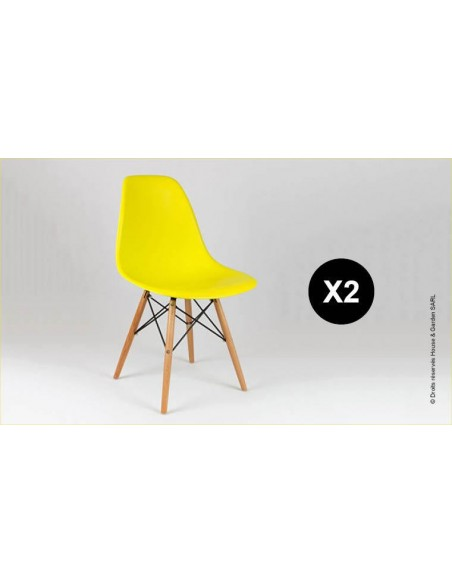 chaise eames jaune
