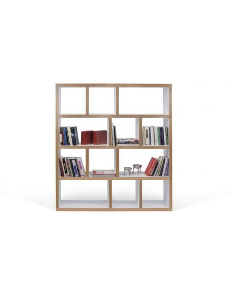Bibliothèque bicolore blanche et contreplaqué