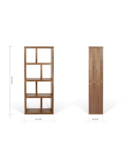 bibliothèque design en noyer 4 niveaux