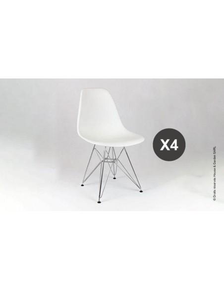 chaise blanche chromée