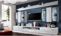Salon TV blanc brillant